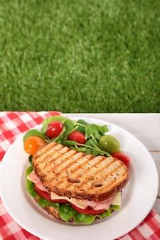 Pique-nique, grillé, jambon, et, fromage, sandwich, sur, table extérieure