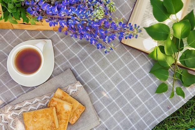 Pique-nique avec livre de cuisson de thé sur un plaid dans un parc sur un concept de vacances voyage herbe verte