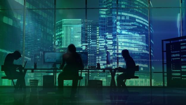 Les pirates au travail sur le bureau d'immeubles de bureaux verts