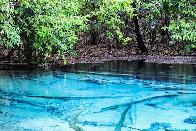 La piscine bleue de la province de krabi est l'incroyable destination au sud de la thaïlande. sélectionnez le focus.