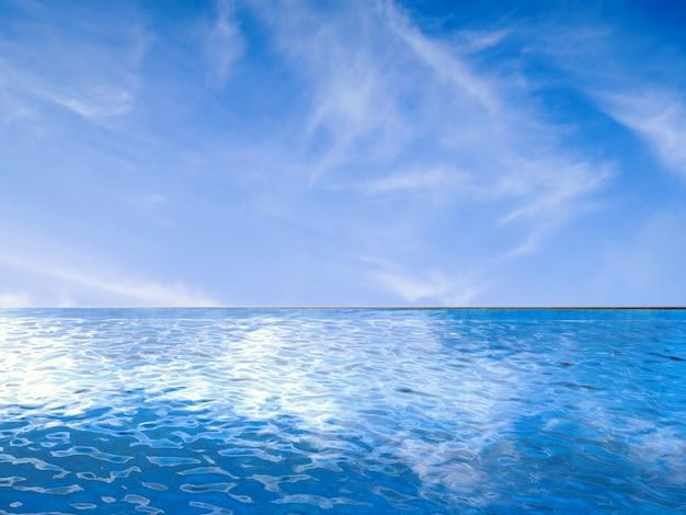 Piscine à débordement avec fond de ciel bleu