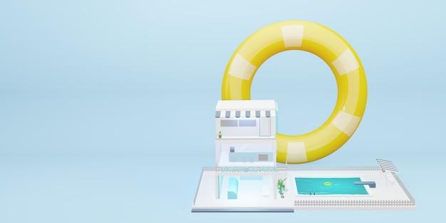 Piscine simulée bâtiment de trois étages modèle de dessin animé illustration 3d pastel bleu