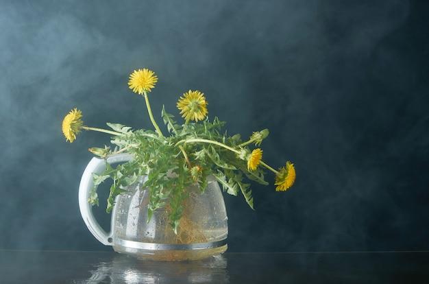 Pissenlit avec des racines et des feuilles dans une théière en verre sur un fond sombre en fumée
