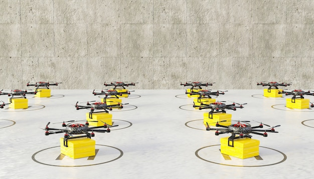 Piste d'atterrissage pleine de drones prêts avec des colis pour la livraison