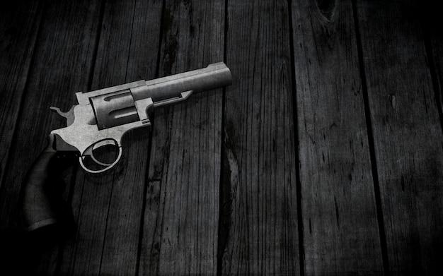Pistolet 3d sur une texture en bois grunge