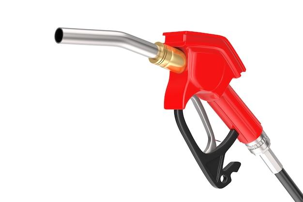 Pistolet à essence pompe carburant buse, distributeur de station-service sur un fond blanc. rendu 3d