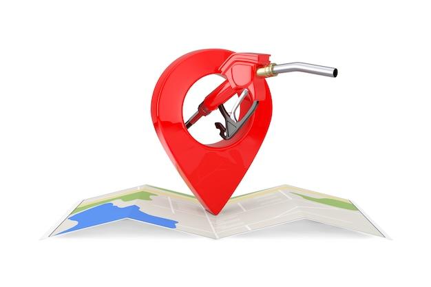 Pistolet à essence, pompe à essence, distributeur de station-service avec carte de navigation abstraite pliée et broche de pointeur de carte sur fond blanc. rendu 3d