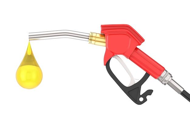 Pistolet à essence, pompe à essence, distributeur de station-service avec goutte de gaz sur fond blanc. rendu 3d