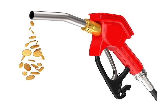 Pistolet à essence, pompe à essence, distributeur de station-service avec goutte de pièces en dollars sur fond blanc. rendu 3d