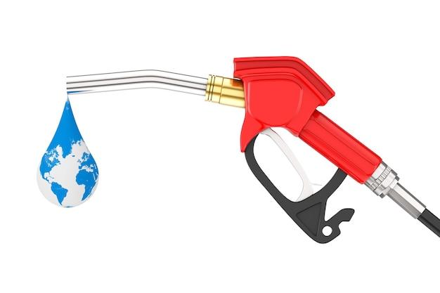 Pistolet à essence, pompe à essence, distributeur de station-service avec gouttelette de globe terrestre sur fond blanc. rendu 3d