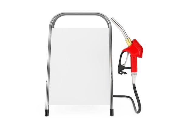 Pistolet à essence, pompe à essence, distributeur de station-service avec support de promotion de la publicité vierge blanche sur fond blanc. rendu 3d