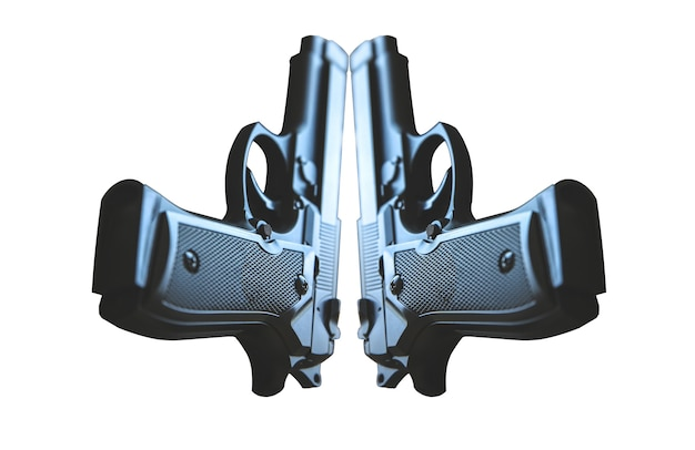 Pistolet isolé sur fond blanc. légalisation des armes. problèmes criminels.