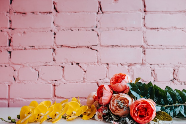 Pivoines sur rose