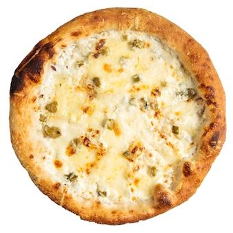 Pizza aux quatre fromages isolée aux asperges