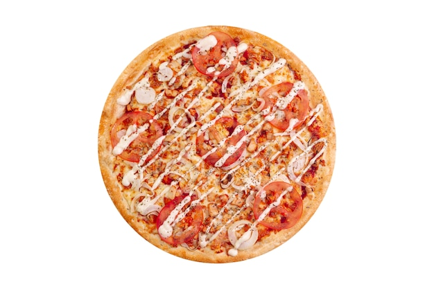 Pizza isolée sur fond blanc. hot fast food