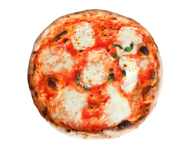 Pizza margherita avec des tranches de mozzarella