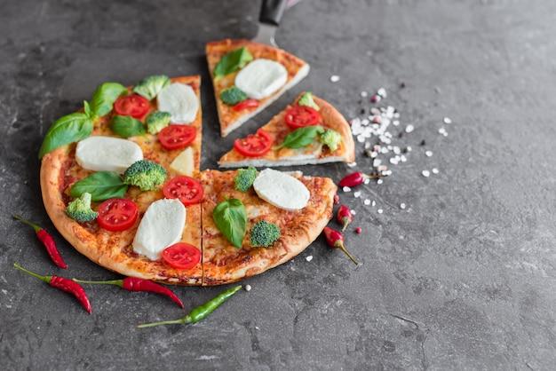 Pizza, nourriture, légumes, champignons.
