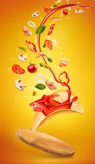 Pizza savoureuse et ingrédients tombants sur fond orange. collage