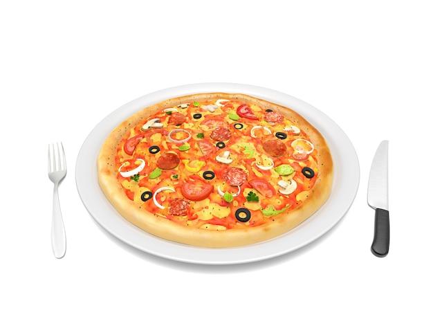 Pizza savoureuse sur une plaque blanche avec couteau et fourchette isolé