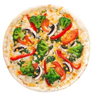 Pizza végétarienne sur fond isolé blanc