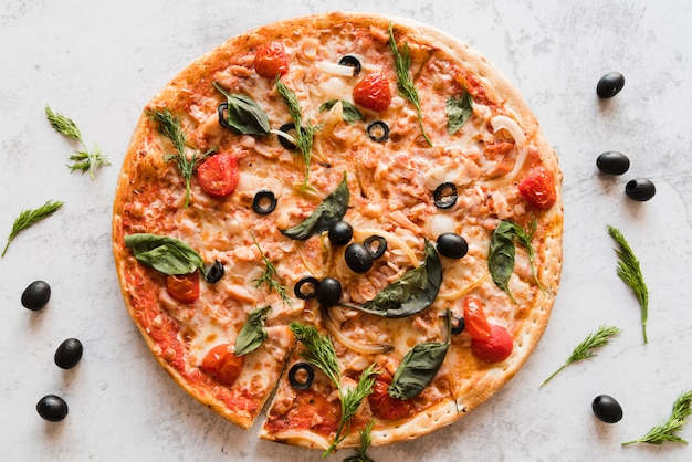 Pizza vue de dessus