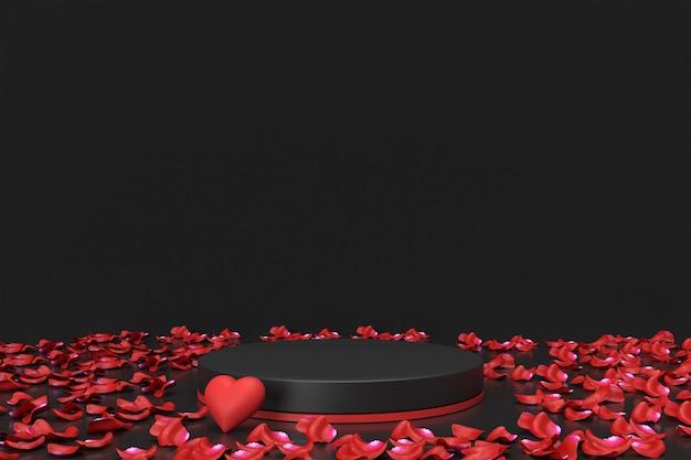 Placement de produit de la saint-valentin avec des roses