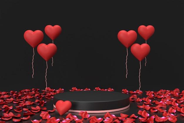 Placement de produits pour la saint-valentin avec des ballons et des roses