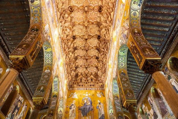 Plafond brillant de la chapelle palatine, palerme