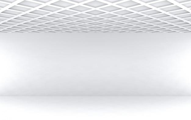 Plafond de modèle carré rendering.modern 3d avec fond blanc vide design mur salle.