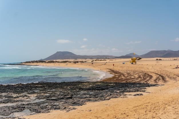 Plage des dunes du parc naturel de corralejo, fuerteventura, îles canaries. espagne