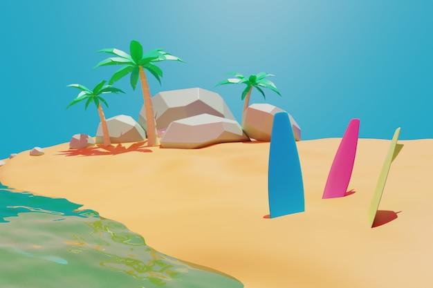 Plage d'été de beauté, planche de surf, sable, rendu 3d d'animation d'arrière-plan de palmier