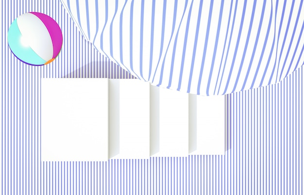 Plage d'été avec des escaliers blancs pour l'affichage des produits