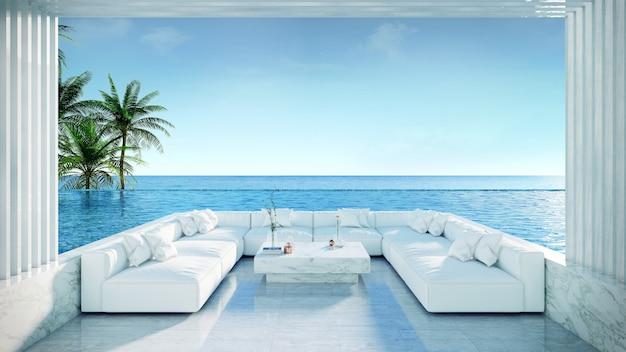 Plage d'été relaxante, solarium et piscine privée