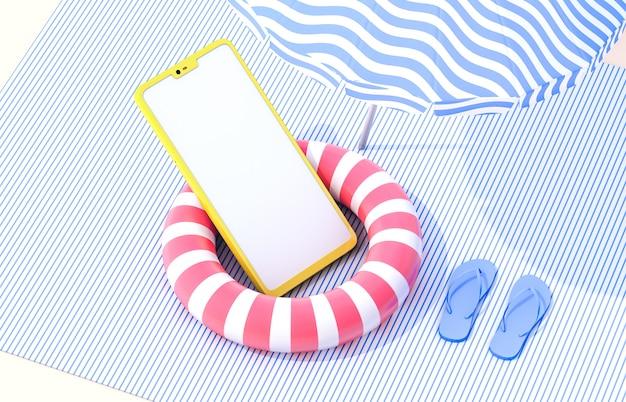 Plage d'été avec smartphone. scène d'été 3d. vue sur la mer. concept de magasinage en ligne.
