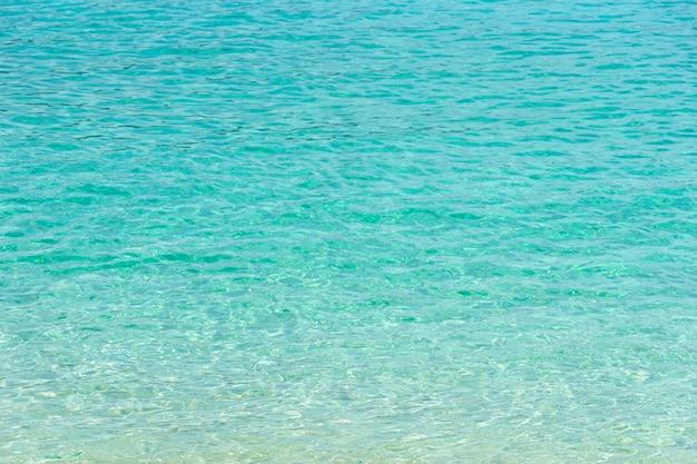 Plage d'été tropicale et fond d'eau de mer bleue transparente.