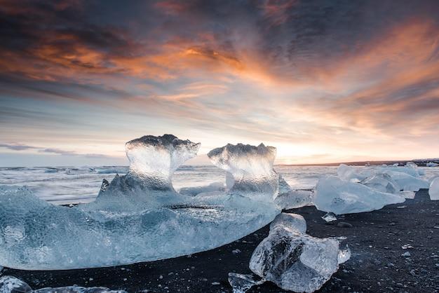 Plage gelée en islande