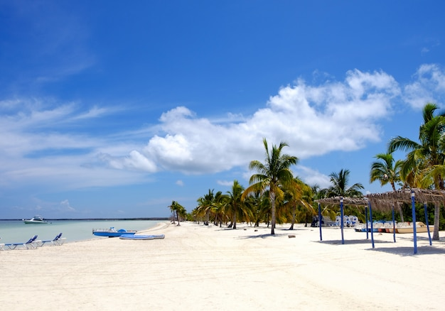 Plage de l'île de cayo blanco dans la mer des caraïbes, des vacances d'été parfaites