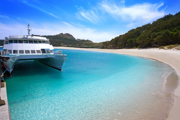 Plage de praia de rodas à islas cies, île de vigo, espagne