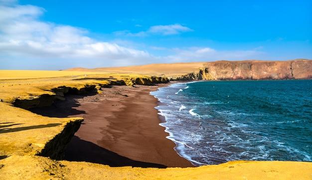 Plage rouge à la réserve nationale de paracas à l'océan pacifique au pérou