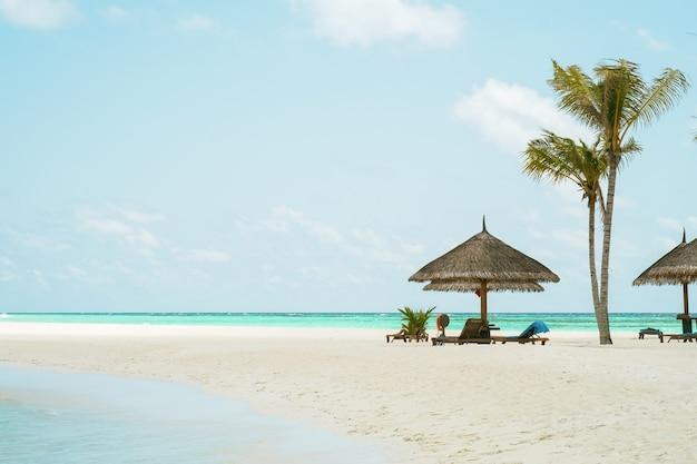 Plage de sable à la broche de l'île de kuredu maldives