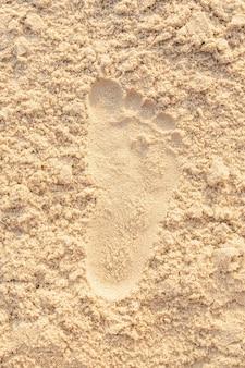 Plage de sable empreinte océan côte mer. image en gros plan.