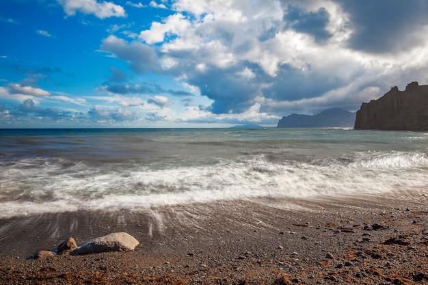Plage de sable avec des montagnes en arrière-plan. les montagnes sont couvertes d'herbe et ont des falaises abruptes de la mer. le ciel est nuageux