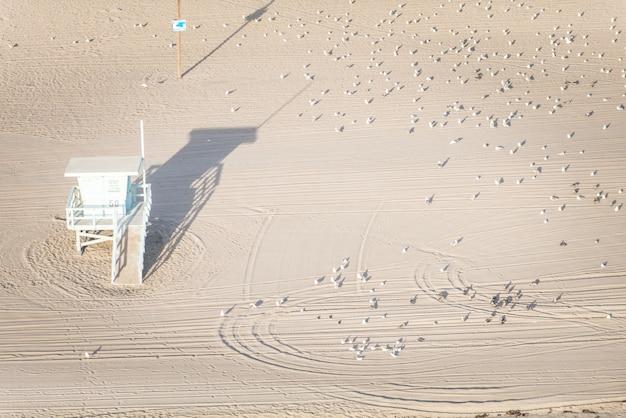 Plage de santa monica, vue depuis l'hélicoptère