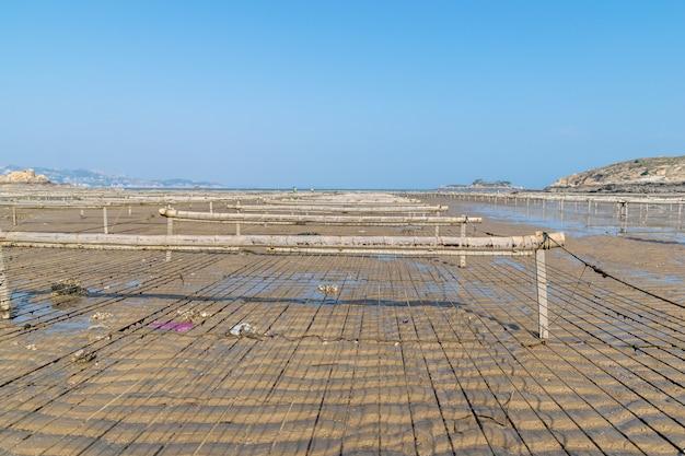 La plage sous le ciel bleu, la vasque et les parcs à huîtres sont sur la plage