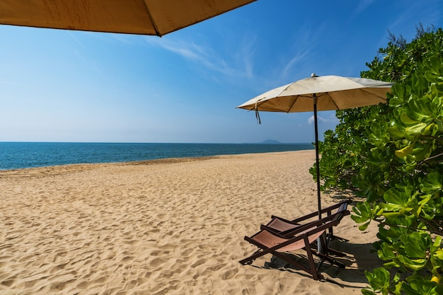 Plage tropicale avec parasol sous les palmiers au soleil, vacances