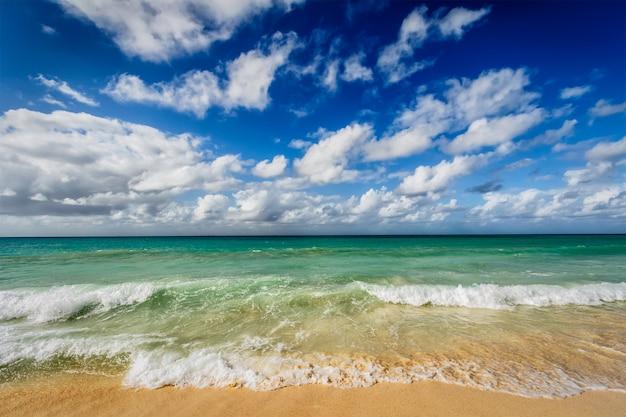 Plage et vagues de la mer des caraïbes