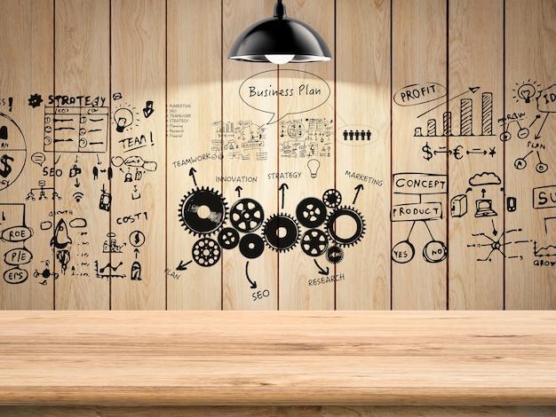 Plan d'affaires avec graphique sur fond en bois