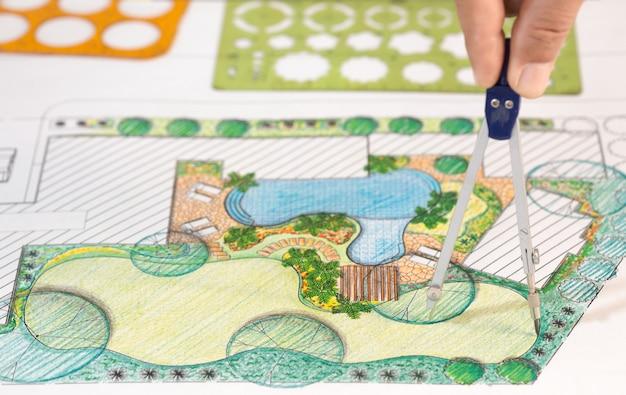 Plan d'arrière-cour de conception d'architecte paysagiste pour villa