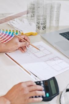 Plan de dessin ingénieur en construction