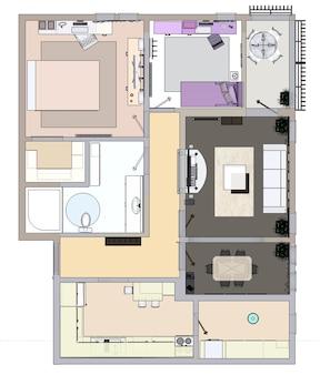 Plan d'étage de l'appartement ou de la maison. rendu 3d.